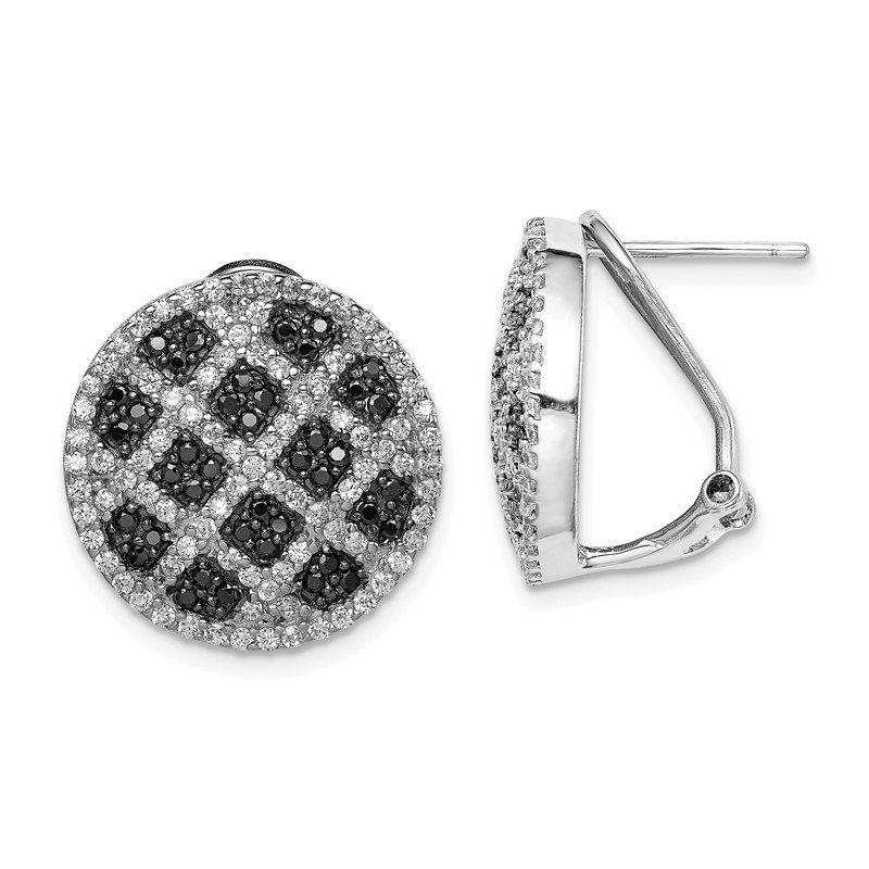 Quality Gold Sterling Silver Black and White CZ Round Omega Back Earrings