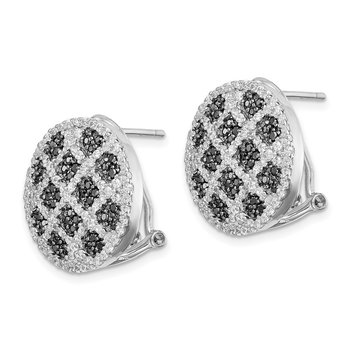 Sterling Silver Black and White CZ Round Omega Back Earrings