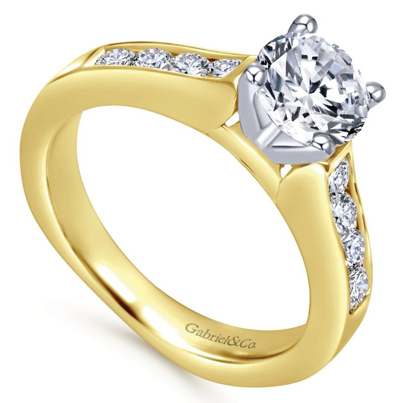 Gabriel Bridal 14K White-Yellow Gold Round Diamond Engagement Ring