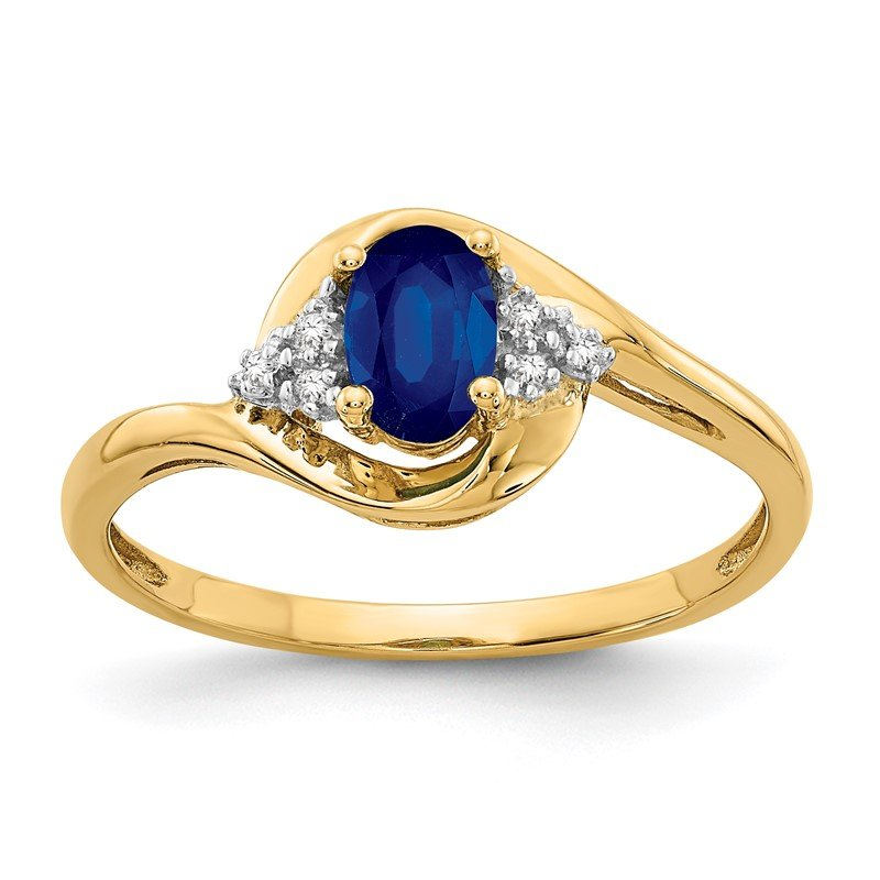 Quality Gold 14k Sapphire and Diamond Ring