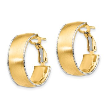 14ky 7.5mm Satin WG D/C wire Accent Round Omega Back Hoop Earrings
