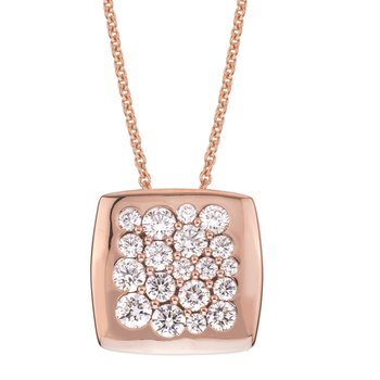 Rose Gold Diamond 15mm Square Tango Pendant