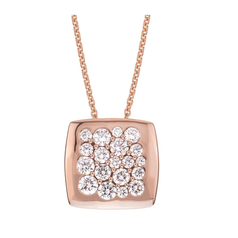 Mark Patterson Rose Gold Diamond 15mm Square Tango Pendant