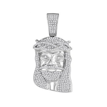 10kt White Gold Mens Round Diamond Jesus Head Messiah Charm Pendant 1-1/5 Cttw