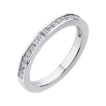 18K White Gold Princess Diamond Half-Eternity Wedding Band