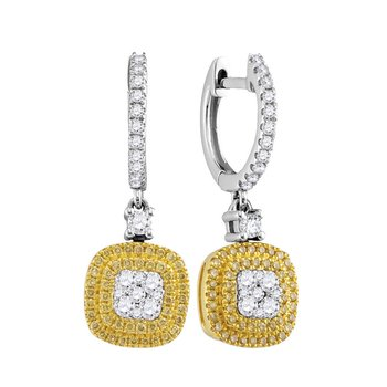 18kt White Gold Womens Round Yellow Diamond Square Cluster Dangle Earrings 3/4 Cttw