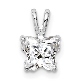Sterling Silver Rhodium-plated CZ Butterfly Pendant