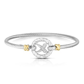 Sterling Silver & 18K Gold Diamond Italian Cable 'X' Bangle
