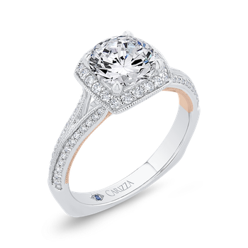 18K Two-Tone Gold Diamond Halo Engagement Ring with Euro Shank (Semi-Mount)