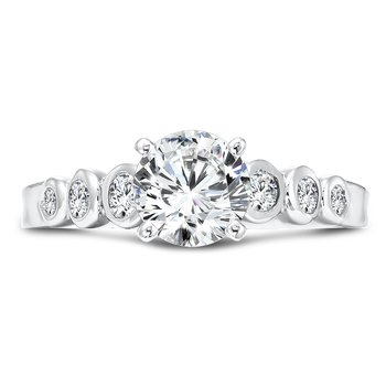 Diamond Engagement Ring With Semi-Bezel Set Side Stones in 14K White Gold with Platinum Head (1ct. tw.)