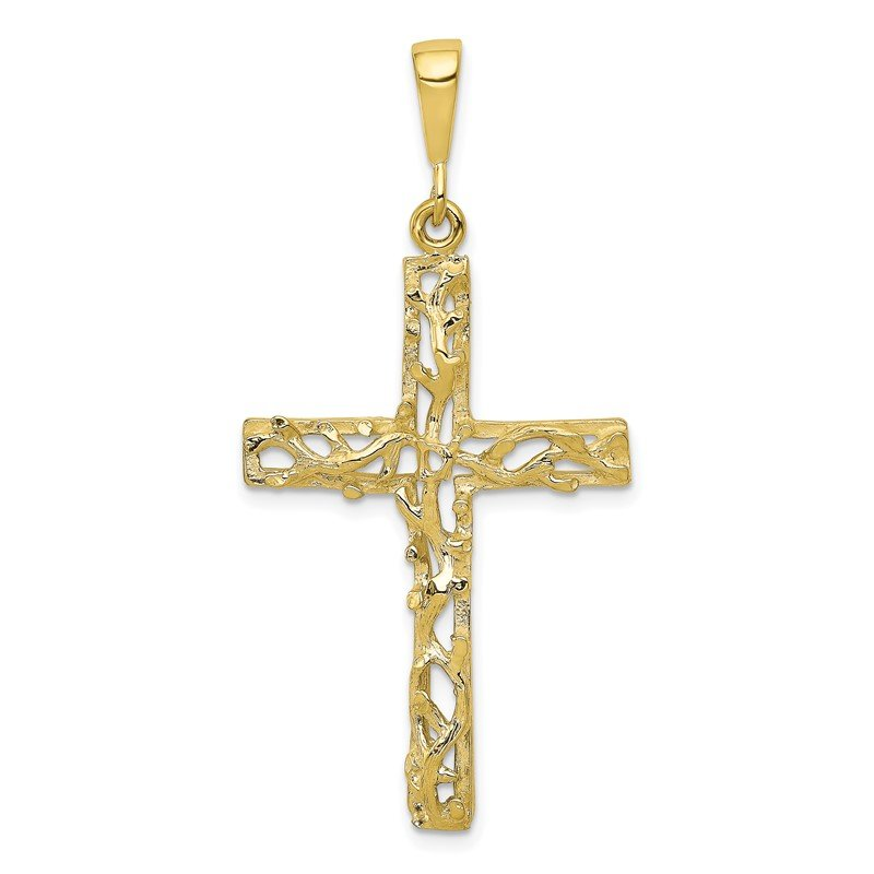 Quality Gold 10k Satin Polished Antiqued Cross Pendant