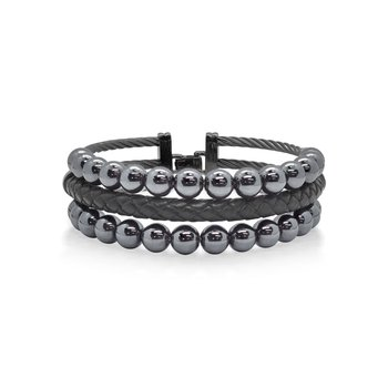 Grey Cable Bracelet with Black Leather & Hematite