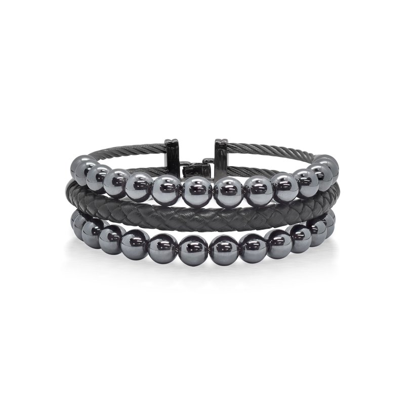 ALOR Grey Cable Bracelet with Black Leather & Hematite