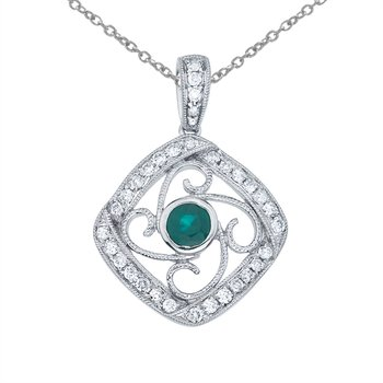 14k White Gold Emerald and Diamond Fashion Pendant