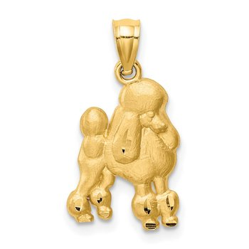 14K Diamond-cut Poodle Pendant