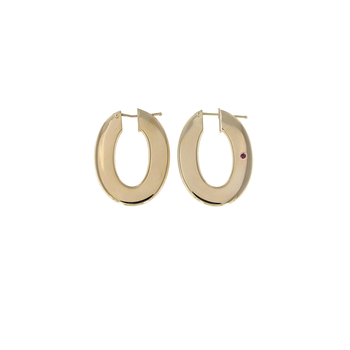18Kt Gold Flat Oval Hoop Earrings