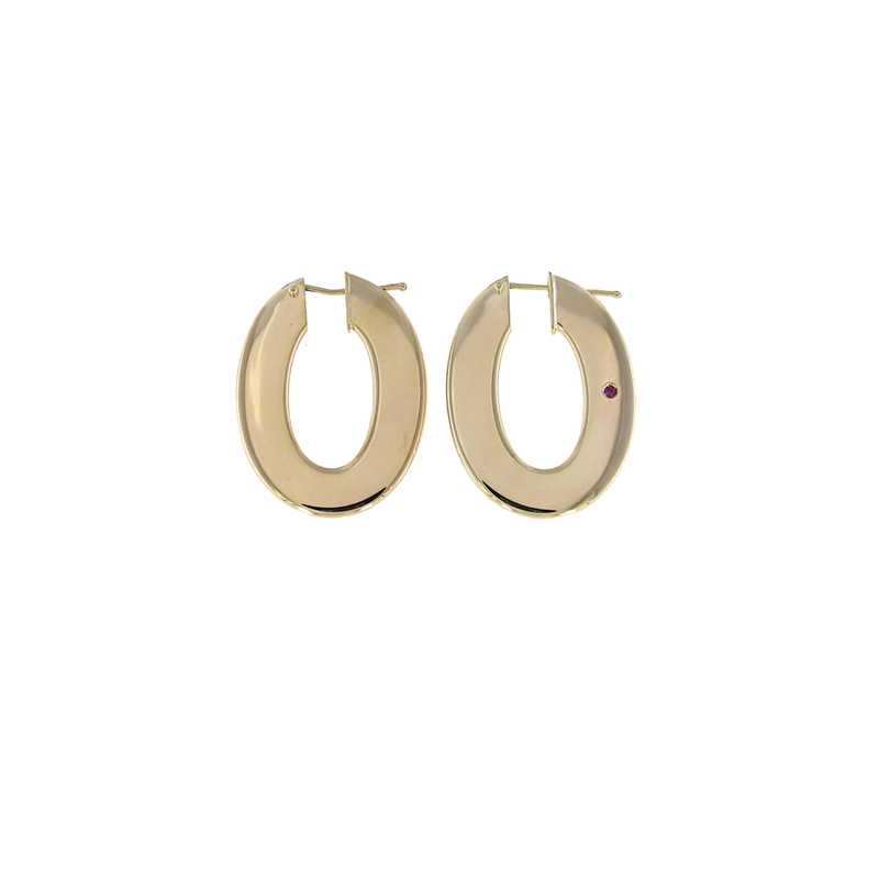 Roberto Coin 18Kt Gold Flat Oval Hoop Earrings