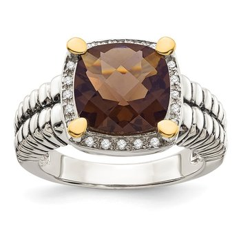 Sterling Silver w/14k Smoky Quartz & Diamond Ring