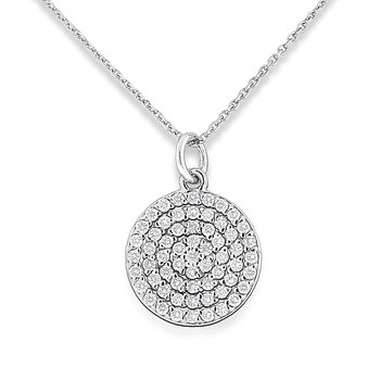 Diamond Disc Necklace in 14k White Gold with 61 Diamonds weighing .61ct tw.