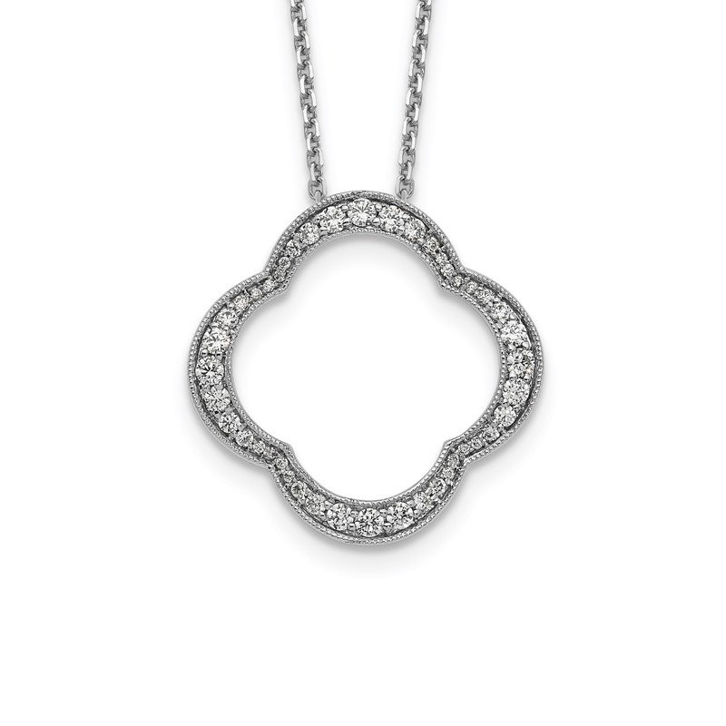 True Origin 14kw True Origin Lab Grown Diamond VS/SI, D E F, Quatrefoil Floral Necklace