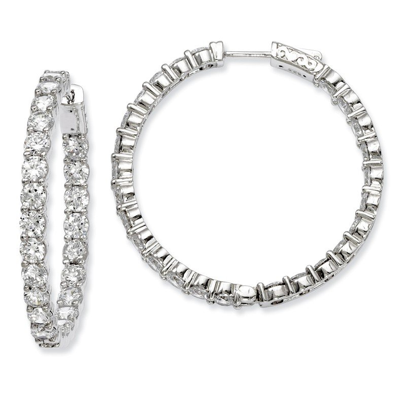 Quality Gold Sterling Silver Rhodium-plated CZ In and Out Hinged Hoop Earrings
