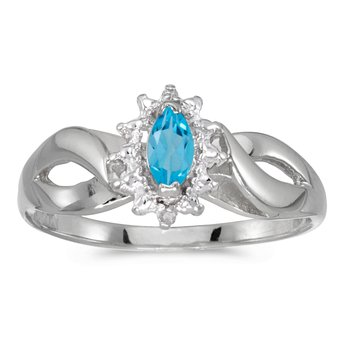 14k White Gold Marquise Blue Topaz And Diamond Ring