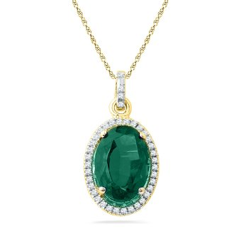 10kt Yellow Gold Womens Oval Lab-Created Emerald Fashion Pendant 5-1/2 Cttw