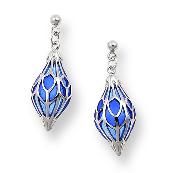 Sterling Silver Ornament Drop Earrings-Blue