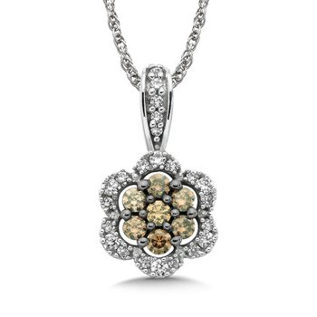 Pave set Cognac Cluster and White Diamond Floral Motif Pendant, 14k White Gold  (1/3 ct. tw.)