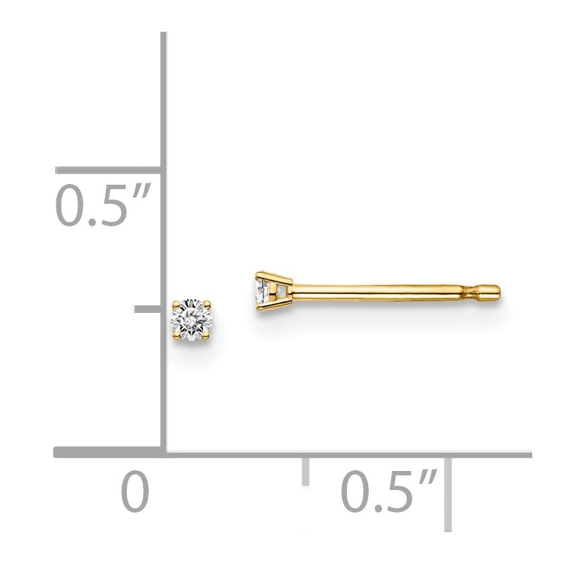 Quality Gold 14y .10ct. I1 J-K Diamond Stud Push-on Post Earrings