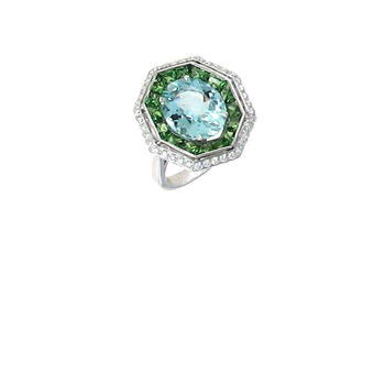 18Kt Gold Ring With Diamonds, Aquamarine And Green Garnet