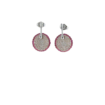 18Kt Gold Earrings With Diamonds And Pink Sapphires