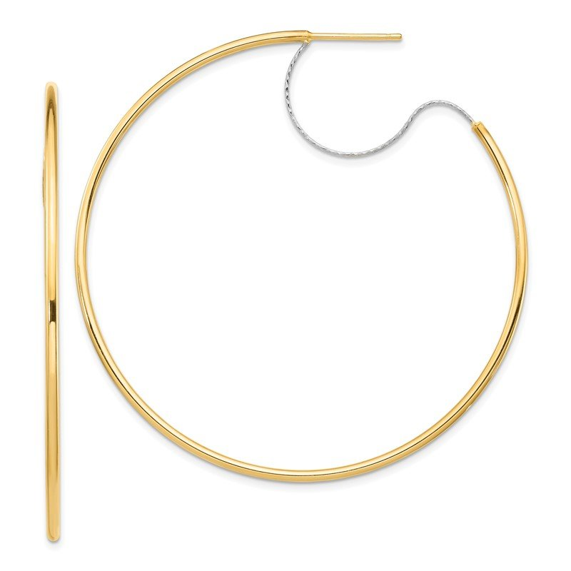 Quality Gold 14K Two-Tone Large 2x55mm D/C Wire Polished Hoop Earrings