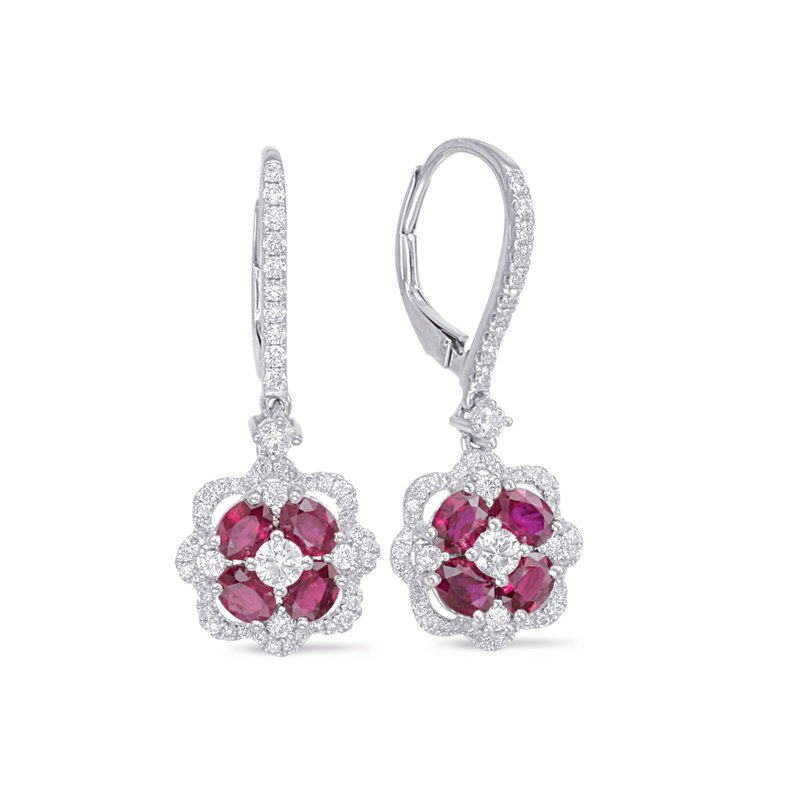 S. Kashi  & Sons White Gold Ruby & Diamond Hoop Earring