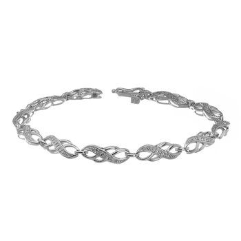 925 SS and Diamond Infinity Link Design Bracelet
