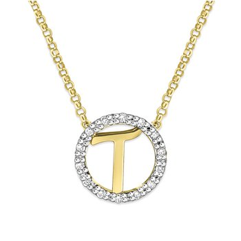 "Gold and Diamond Mini Halo ""T"" Initial Necklace"