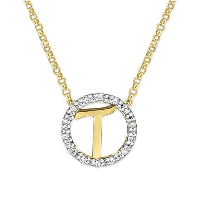 "KC Designs Gold and Diamond Mini Halo ""T"" Initial Necklace"
