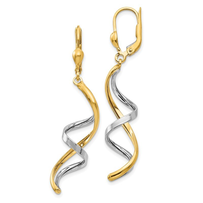 Quality Gold 14K Two-tone Spiral Leverback Earrings