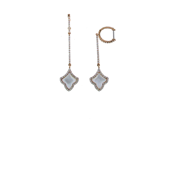 18Kt Rose Gold Diamond And Mother Of Pearl Earrings