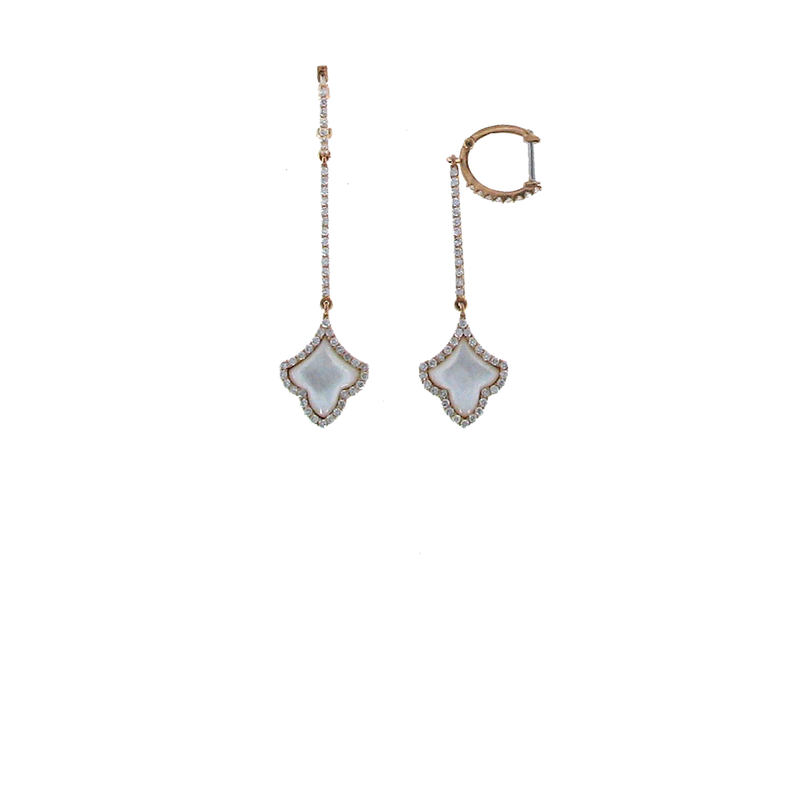 Roberto Coin 18Kt Rose Gold Diamond And Mother Of Pearl Earrings