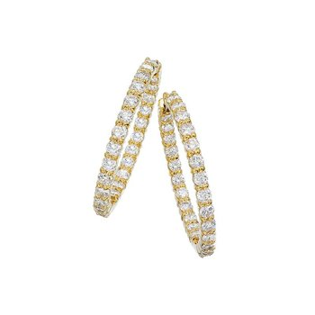 18KT GOLD MEDIUM PERFECT DIAMOND HOOP EARRINGS