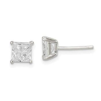 Sterling Silver 5mm Square Cross-cut CZ Basket Set Stud Earrings