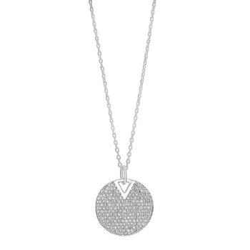 Diamond Cluster Circle Drop Pendant Necklace in Sterling Silver