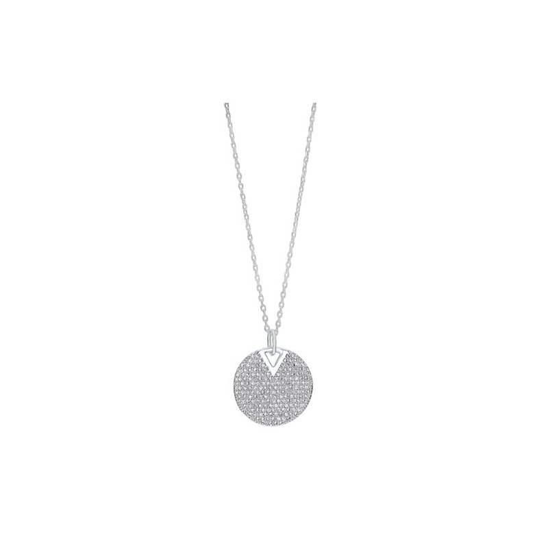 Gems One Diamond Cluster Circle Drop Pendant Necklace in Sterling Silver