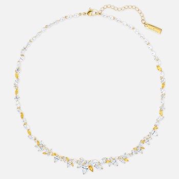 Botanical Necklace, White, Gold-tone plated