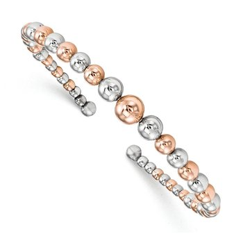 Leslie's Sterling Silver Rose Gold-plated Flexible Cuff