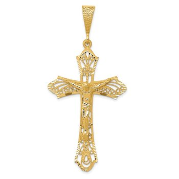 14K Satin Diamond-Cut Crucifix Pendant