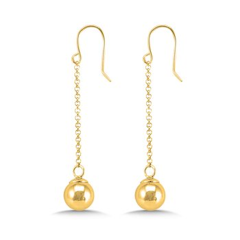 14K Yellow Gold Plated Sterling Silver Dangle Ball Earrings