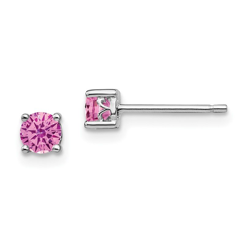 Fine Jewelry by JBD Sterling Silver Rhodium-plated 4mm Round Created Pink Sapphire Post Earring
