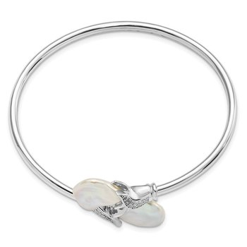 SS Rhodium-plated 16-17mm White Keshi FWC Pearl CZ Flexible Bangle
